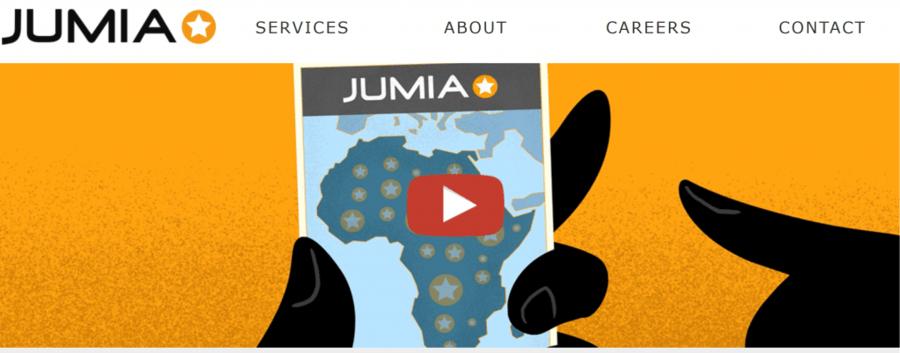 O site do grupo Jumia, líder pan-africano de comércio eletrônico