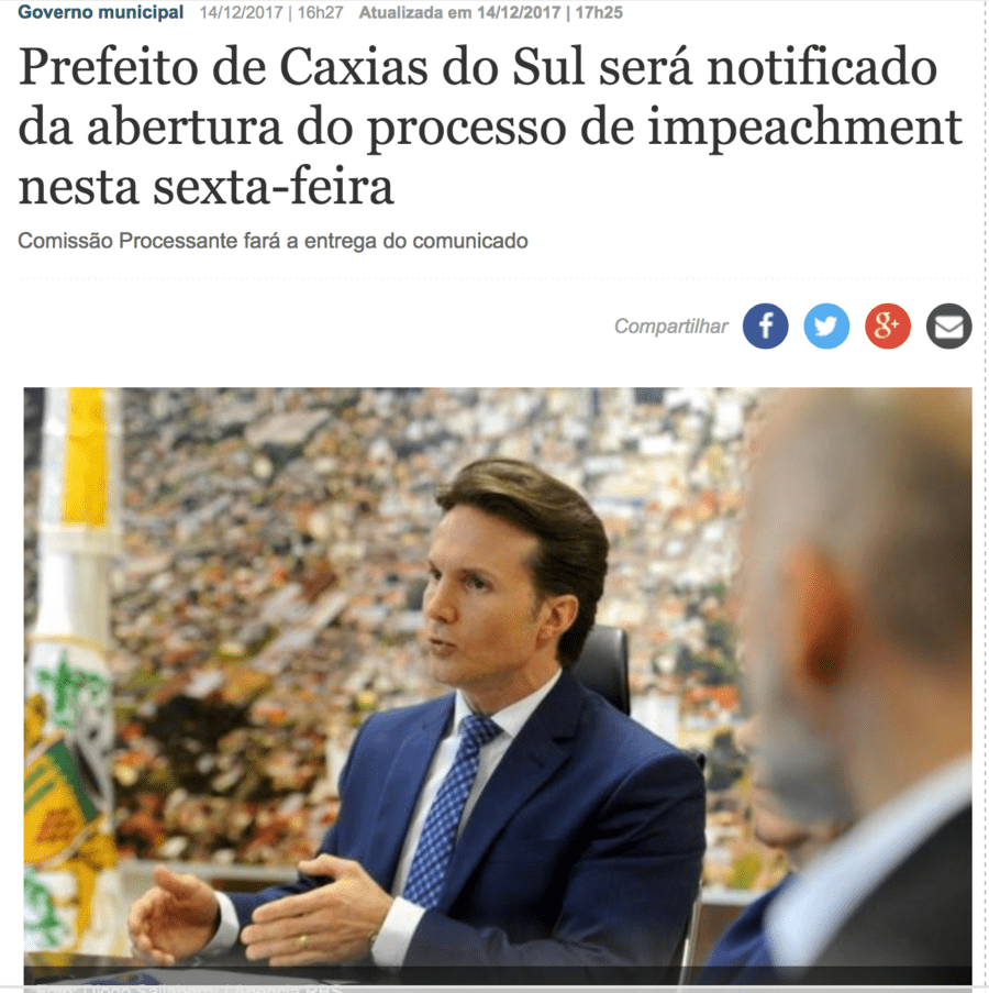 Mais uma matéria do jornal O Pioneiro, desta vez sobre o pedido de impeachment ao prefeito Guerra | © Reprodução