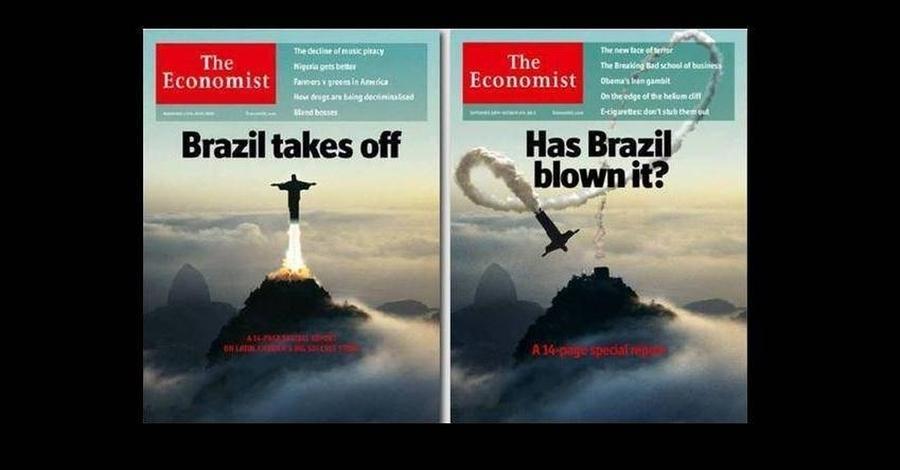 Dois momentos: capas da revista The Economist evidenciam a ascensão e queda da imagem do Brasil nos mercados internacionais A| © Reprodução