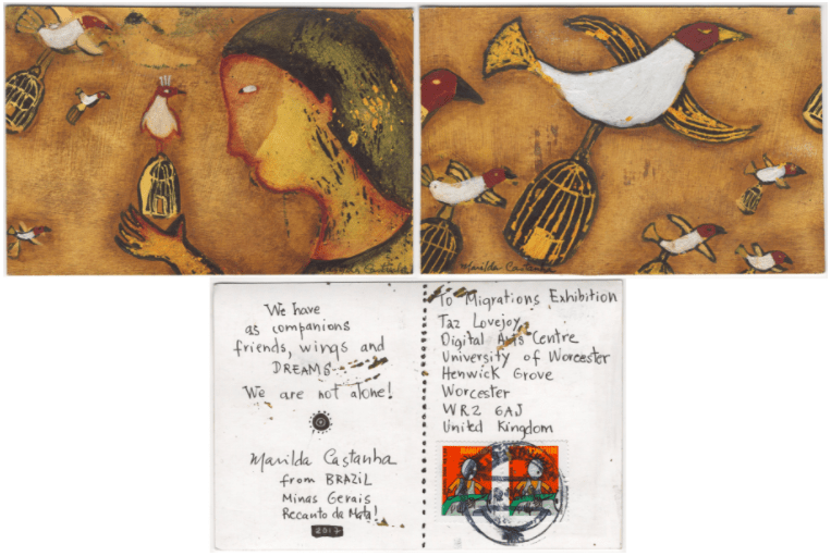 Postal que Marilda Castanha mandou para a exposição