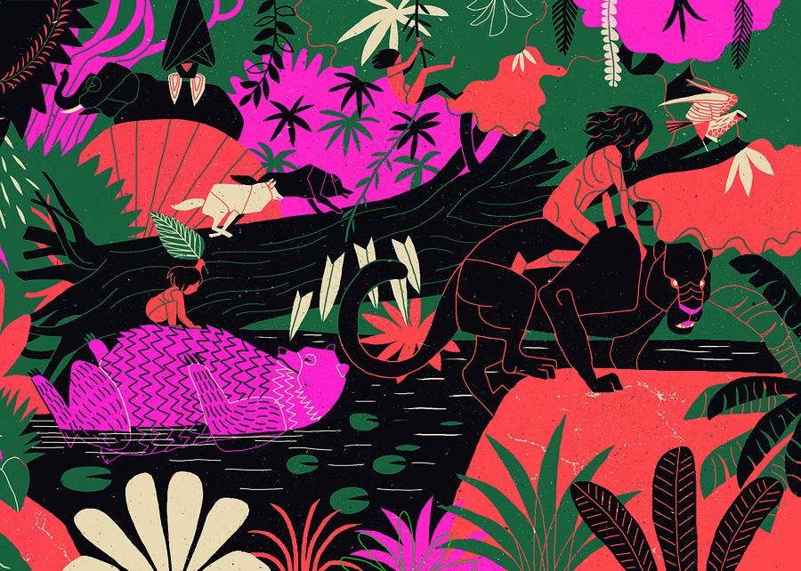 Ilustração de Andre Ducci para 'O livro da selva', de Rudyard Kipling, que inaugura o projeto Domínio ao Público | © Reprodução
