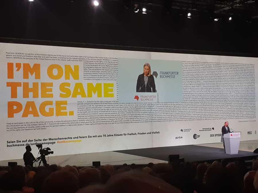 Federica Mogherini durante seu discurso na cerimônia de abertura da Feira do Livro de Frankfurt | Leonardo Neto