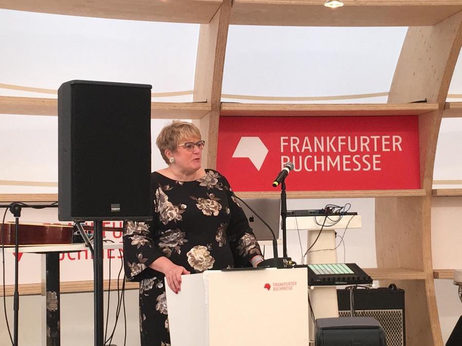 Trine Skei Grande, ministra da Cultura da Noruega, durante a apresentação do programa da Noruega   Talita Facchini