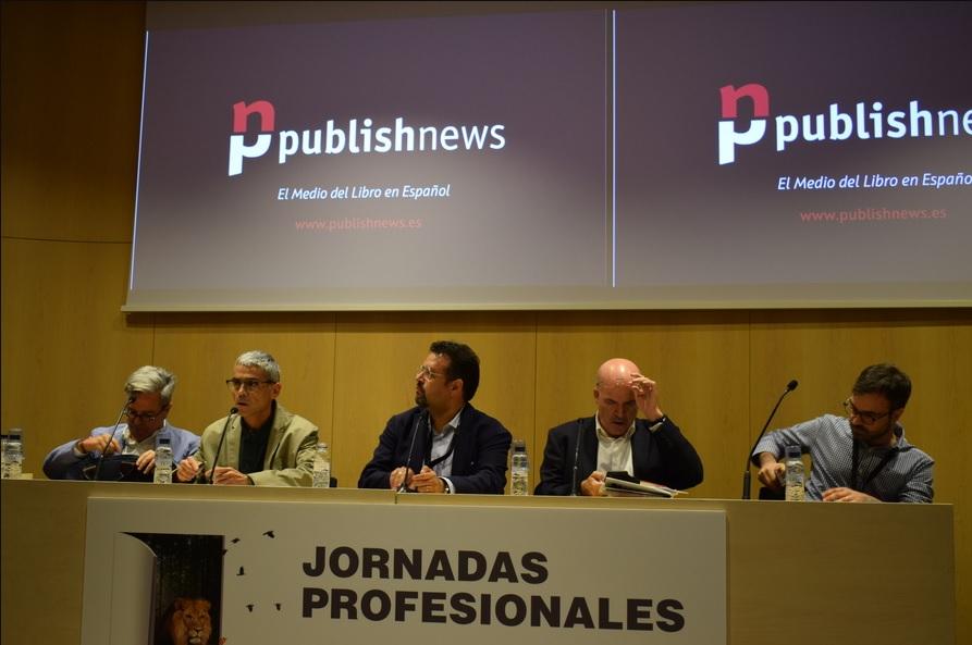 Javier Celaya, Carles Geli, Carlo Carrenho, Jordi Nadal e Luiz Gaspar na apresentação oficial do PublishNews em Espanhol   © Lorenzo Herrero