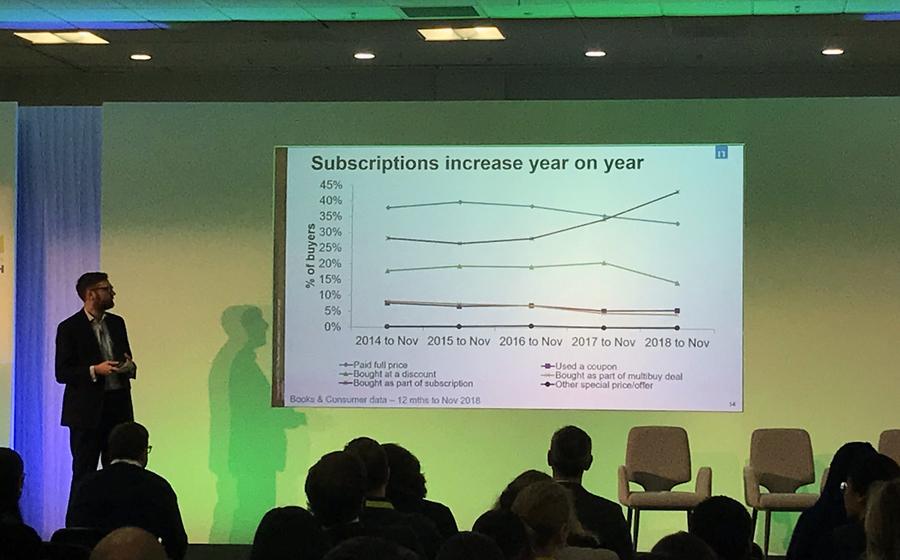 Oliver Beldham apresenta dados sobre o mercado de audiolivros no Reino Unido, durante a Quantum Conference em Londres | © Lima Andruška