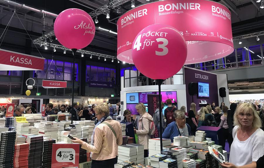 O estande da gigante Bonnier Books na Feira do Livro de Gotemburgo em 2018   © Lima Andruška