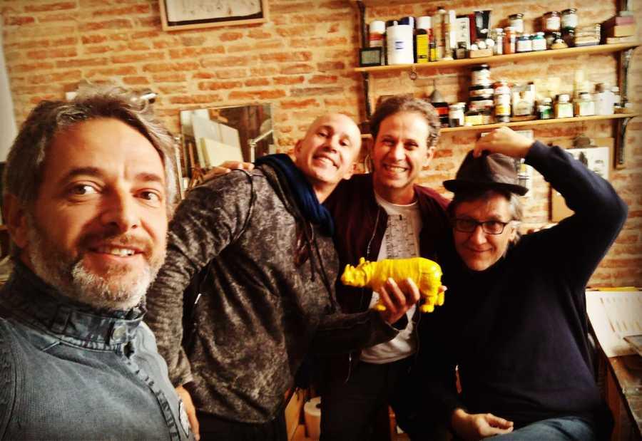 Volnei Canônica, André Neves, Roger Mello e o ilustrador espanhol Javier Zabala