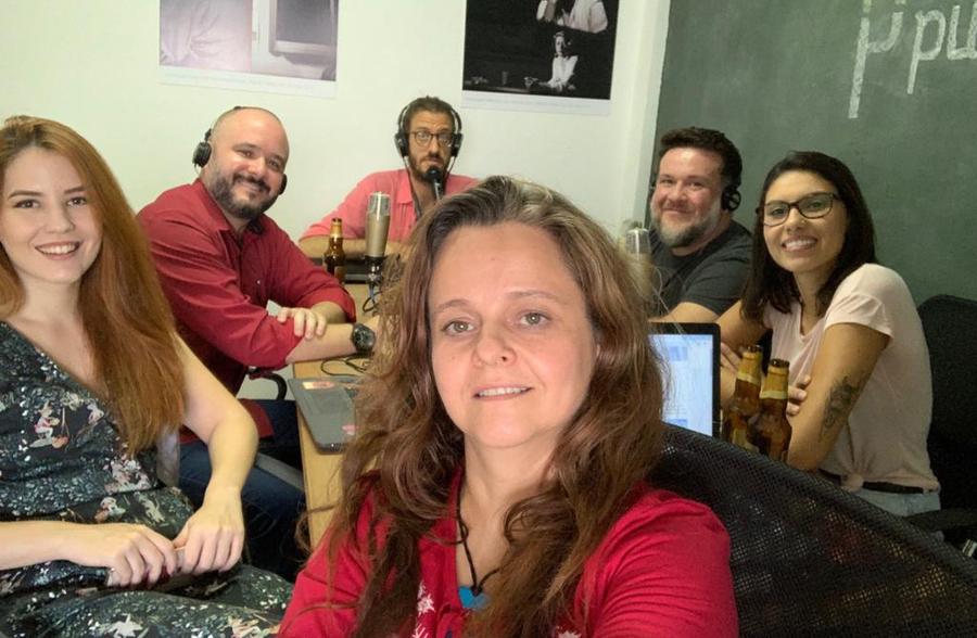 Antonio Bitiati com a equipe do PublishNews durante a gravação do Podcast