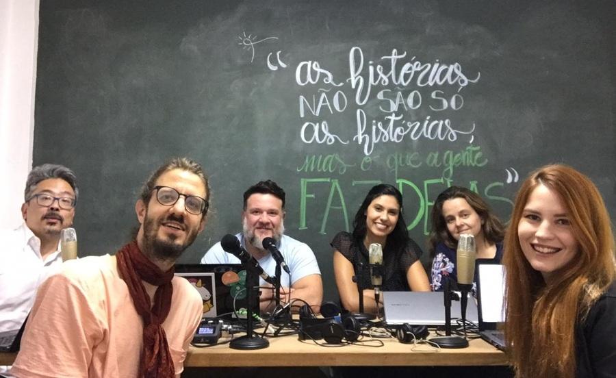 Da esquerda para a direita: Fabeska Matarazzo, Zelinda Botox, Tizza Guentatora, Talita Molotov, Luna Sherazade e Scarlett Lisboa formam a equipe do Podcast do PublishNews