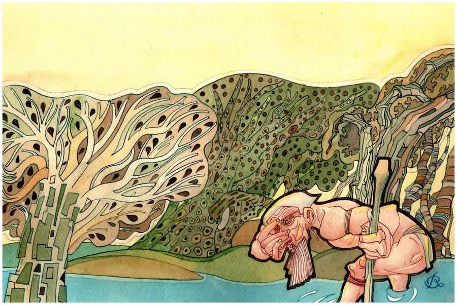 Ilustração 'Assim nasceram os Ticunas', de Rui Oliveira, compõem a exposição que ficará em cartaz durante o Folio | Reprodução