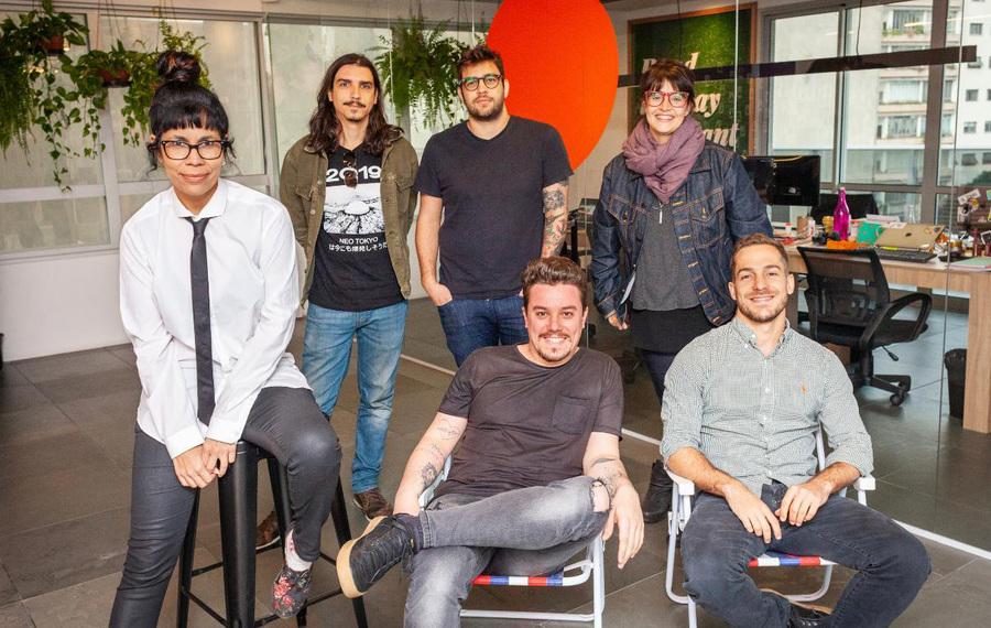 Equipe da Storytel no Brasil: Mariana Rolier, Antonio Hermida, Fernando Schaer, Karina Pino, André Palme e Pedro Duarte
