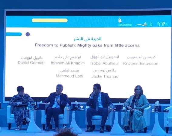 Jacks Thomas, Kristenn Einarsson, Mahmoud Lutfi e Isobel Abulhoul durante a mesa em que se discutiu a Liberdade de Publicação | Leonardo Neto