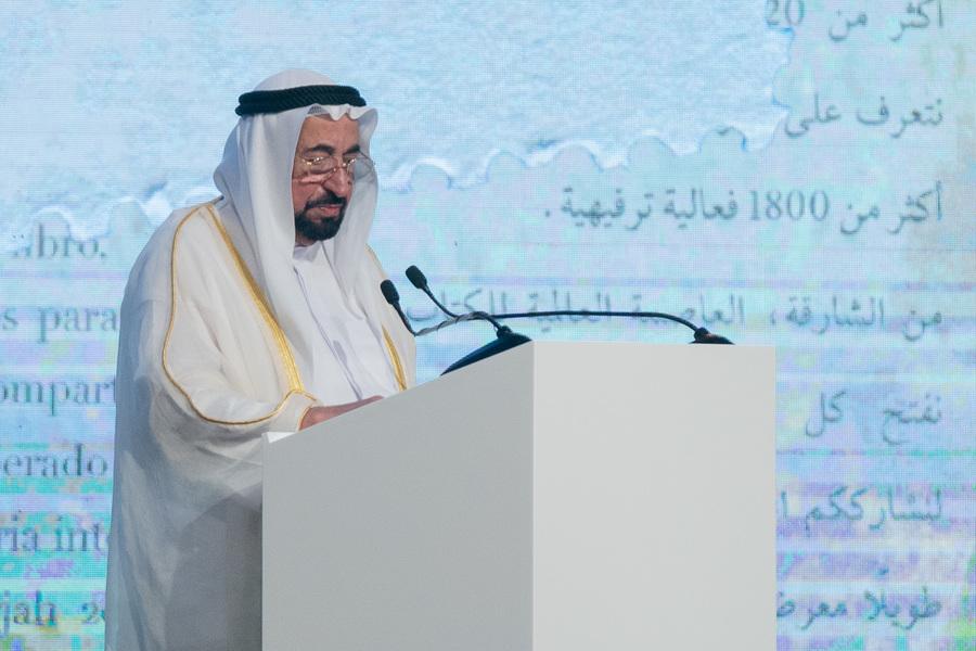 Em seu discurso, o sheik Sultan Muhammad Al Qasimi ressaltou a importância da Cultura e do conhecimento para o emirado que ele governa | Divulgação
