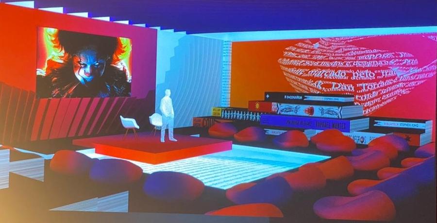Croqui digital do auditório do StoryVillage, espaço dedicado ao livro do Rio2C