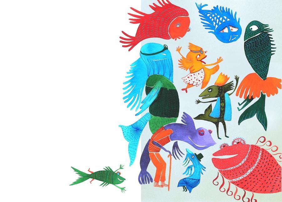 Ilustração de Luciana Grether para o livro 'Cascudinho – o peixe contador de histórias'