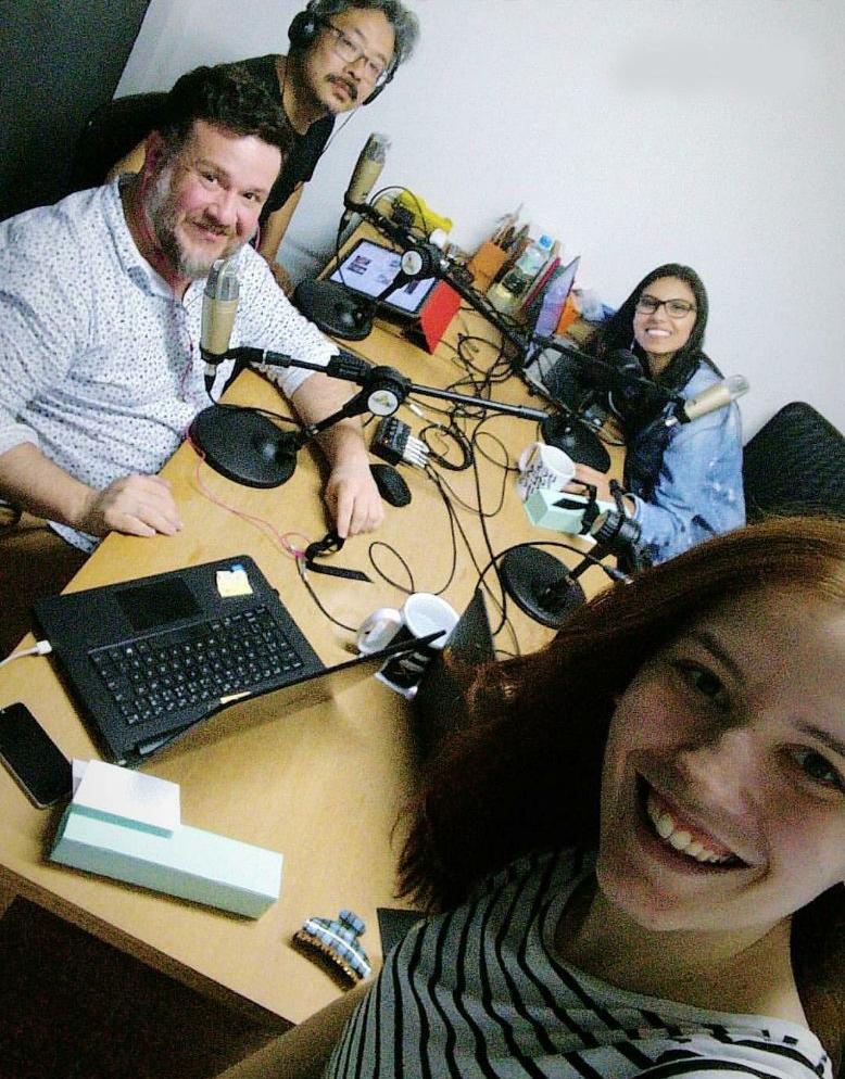 Parte da equipe do PN, em 2018, em uma das primeiras edições do Podcast