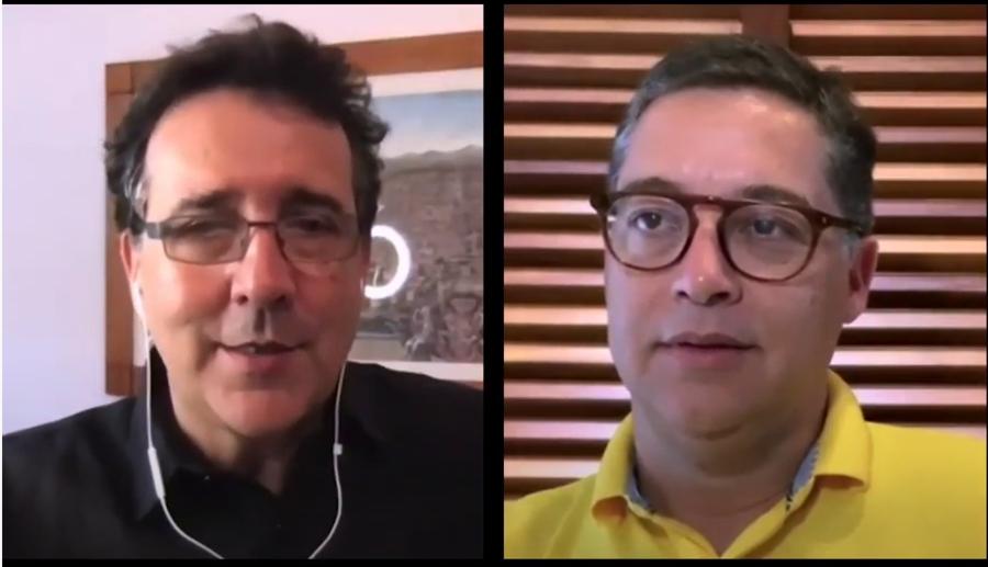 Mauro Munhoz e Eduardo Saron em conversa que revelou a data de realização da Flip 2020   Reprodução