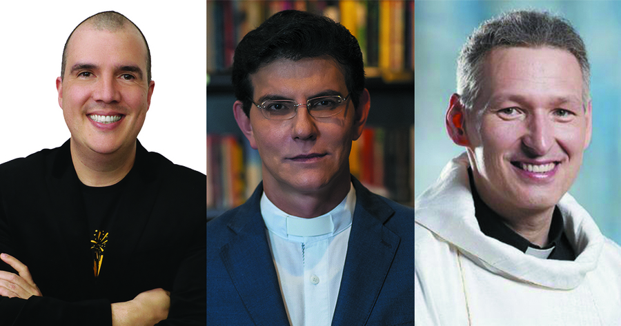 Bruno Gimenes e os padres Reginaldo Manzotti e Marcelo Rossi | © Washington Possato