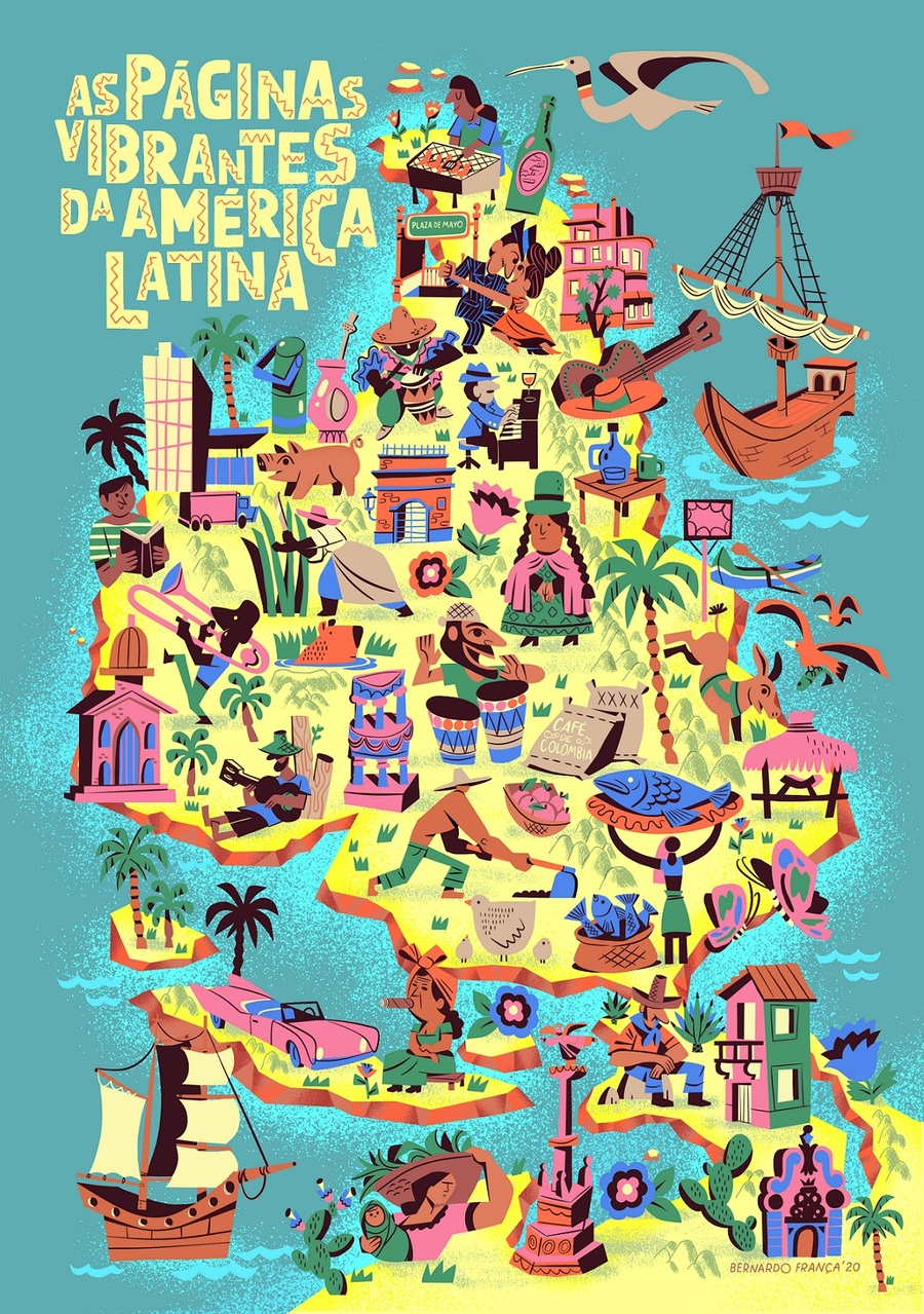 Homenagem ao mapa invertido do artista Joaquín Torres García, em um manifesto contra a cartografia eurocêntrica | © Bernardo França