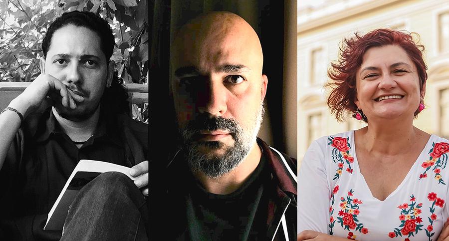 Ondjaki, Afonso Cruz e Cida Pedrosa | © Kaio Elias / Divulgação / Andrea Rego Barros