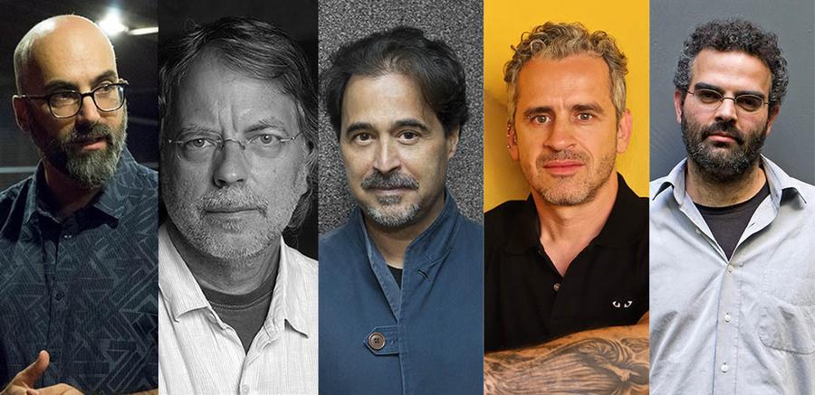 Valter Hugo Mãe, Agualusa, Mia Couto, José Luiz Peixoto e Gonçalo Tavares | © Daniel Bianvhini / Divulgação / Daniel Bianchini / Patrícia Pinto / Pauliana Pimentel