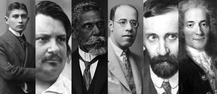Franz Kafka, Honoré de Balzac, Machado de Assis, Mario de Andrade, Dimitri Merejkovsky e Voltaire | © Divulgação / Michelle Rizzo