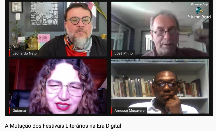 Leonardo Neto (no canto superior esquerdo), editor do PN, foi quem conduziu a conversa entre José Pinho, Guiomar de Grammont e Amosse Mucavele