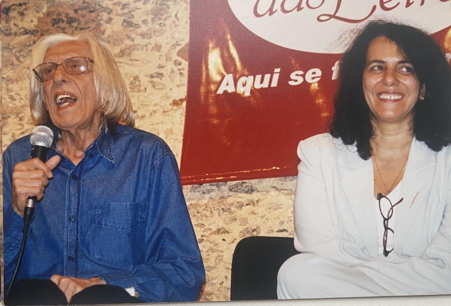 Ferreira Gullar e Suzana Vargas na festa de um ano da Estação das Letras | © Acervo pessoal