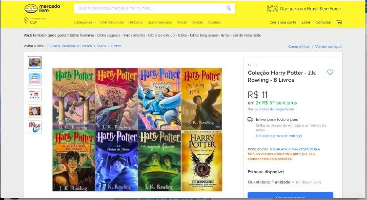 Coleção de PDF dos livros da série 'Harry Potter' era vendida por R$ 11. Anúncio já foi retirado do ar | ©️ Reprodução