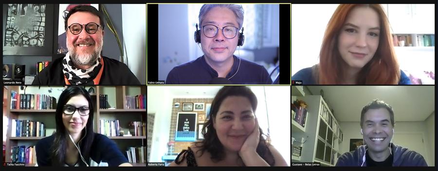 Leonardo Neto, Fábio Uehara, Maju Alves e Talita Facchini recebem Roberta Faria e Gustavo Guertler para um papo no Podcast do PublishNews