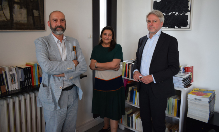 Antonio Martín - cofundador do PN-Es – ao lado de Marifé Boix e Jürgen Boos