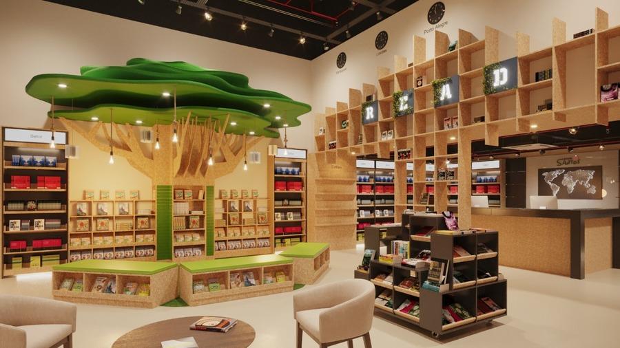 Perspectiva digital do interior da nova loja que será inaugurada na próxima semana